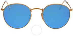 Ray-Ban Round Polarized Blue Flash Sunglasses