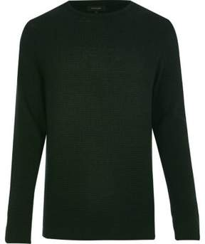 River Island Mens Dark green textured waffle sweater