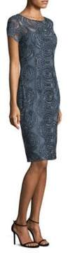 Aidan Mattox Short-Sleeve Beaded Sheath Dress