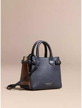 Burberry The Baby Banner in Leather and House Check - INK BLUE - STYLE