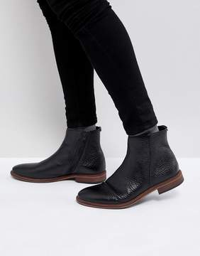 Asos Chelsea Boots In Black Leather With Texture And Zip Detail