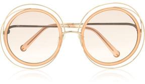 Chloé Carlina Round-frame Gold-tone Sunglasses - Peach