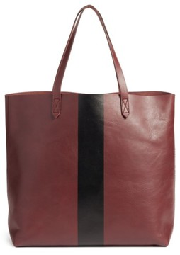 Madewell Paint Stripe Transport Leather Tote - Red