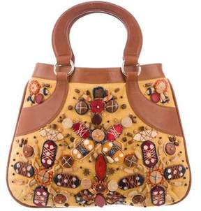 Oscar de la Renta Embellished Canvas Handle Bag