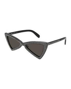 Saint Laurent SL 207 Triangle Acetate Studded Sunglasses, Black Pattern