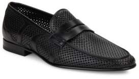 Galliano Perforated Leather Penny Loafers