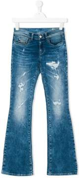 Diesel distressed effect flared jeans