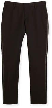 Armani Junior Tribe Faux-Leather-Trim Tuxedo Pants, Black, Size 7-12