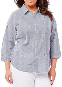 Allison Daley Plus 3/4 Sleeve Embroidered Pinstripe Shirt