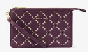 Michael Kors Daniela Grommeted Leather Wristlet - Purple - 32F7GFDU8U-599 - ONE COLOR - STYLE