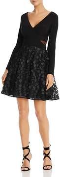 Aqua Floral Appliqué Fit-and-Flare Dress - 100% Exclusive