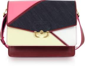 Paula Cademartori Geranium Pink Leather and Denim Twi Twi Boho Shoulder Bag