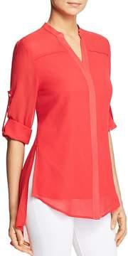 Badgley Mischka Sheer Silk Button-Down Top
