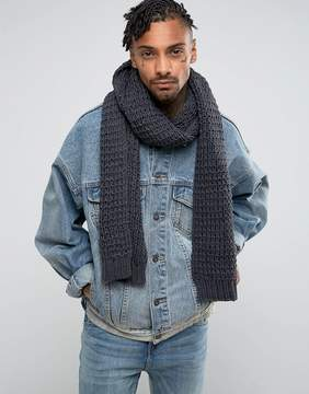 Asos Knitted Scarf In Slate Gray