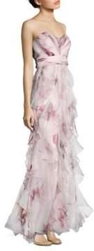 Badgley Mischka Strapless Ruffled Silk Gown