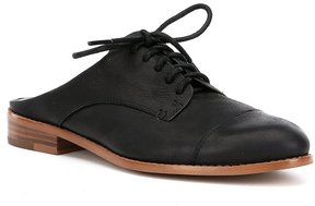1 STATE Fea Leather Oxford Detail Stacked Heel Mules