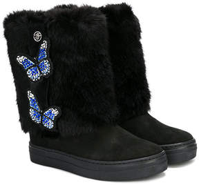 Miss Blumarine butterfly detail faux fur boots