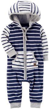 Carter's Baby Boy Striped Hooded Fleece Jumpsuit
