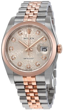 Rolex Oyster Perpetual Datejust Silver Dial Stainless Steel 18K Everose Gold Diamond Ladies Watch