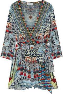 Camilla Teacher's Pet Wrap-Effect Embellished Printed Silk Playsuit
