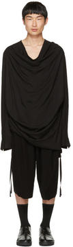 Julius Black Draped Shirring Shirt