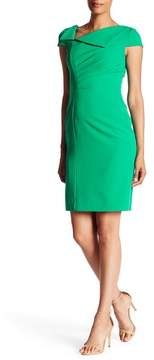 Tahari Fold-over Neck Sheath Dress