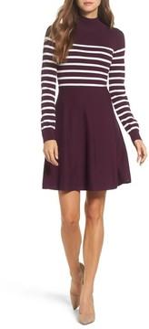 Eliza J Women's Stripe Mock Neck Fit & Flare Dress