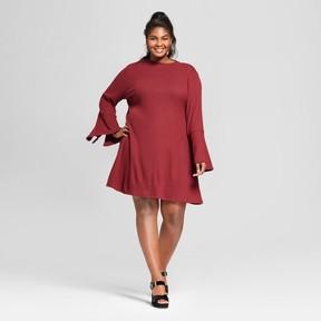 Ava & Viv Women's Plus Size Bell Sleeve Ribbed Dress