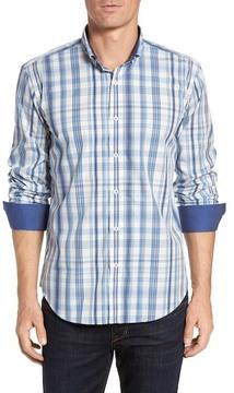 Bugatchi Shaped Fit Plaid Sport Shirt (Tall)