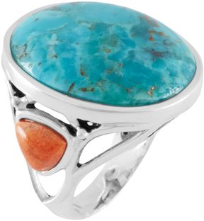 Barse Turquoise & Coral Statement Ring