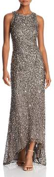 Adrianna Papell Sleeveless Sequin High/Low Gown