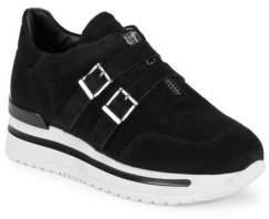John Galliano Double Buckle Leather Sneakers