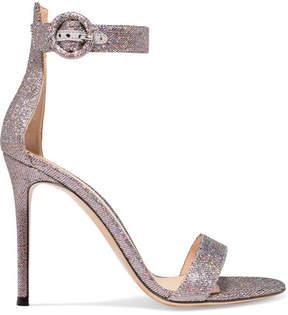 Gianvito Rossi Portofino 100 Textured-lamé Sandals - Silver