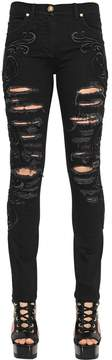 Versace Embroidered Ripped Skinny Denim Jeans