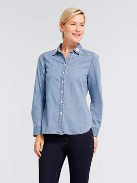 Draper James Embellished Chambray Button Down