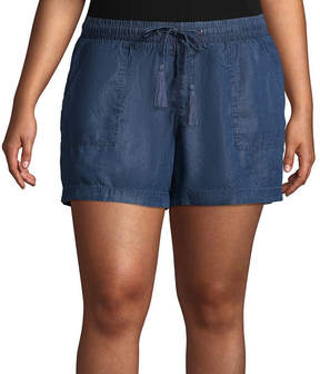 Boutique + + Chambray Soft Shorts - Plus