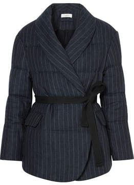 Etoile Isabel Marant Jaron Quilted Pinstriped Linen Jacket - Navy