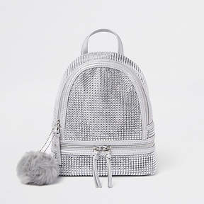 River Island Silver embellished faux fur pom pom backpack