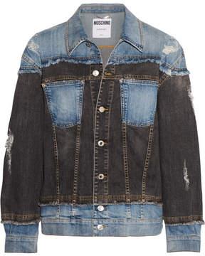 Moschino Distressed Patchwork Denim Jacket - Blue