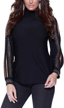 Belldini Black & Rose Gold Embellished Sheer-Sleeve Top - Women