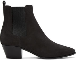 Saint Laurent Grey Suede Rock Chelsea Boots