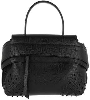 Tod's Wave Bag Mini Hammered Leather Black