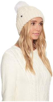 UGG Textured Cuff Hat with Fur Pom Cold Weather Hats
