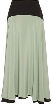 Christopher Kane Two-tone Silk Crepe De Chine Midi Skirt - Mint