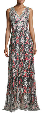 Erin Fetherston Sleeveless Wisteria-Embroidered Gown, Black/Multi