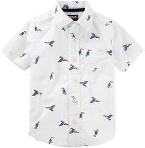 Osh Kosh Oshkosh Bgosh Boys 4-12 Printed Button-Up Shirt