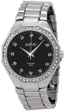 August Steiner Silver-tone Diamond Ladies Watch