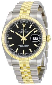 Rolex Oyster Perpetual Datejust 36 Black Dial Stainless Steel and 18K Yellow Gold Jubilee Bracelet Automatic Men's Watch 116233BKSJ