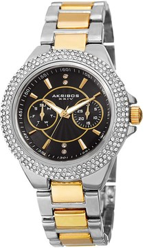 Akribos XXIV Black Dial Two Tone Ladies Watch