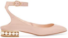 Nicholas Kirkwood Lola Embellished Patent-leather Ballet Flats - Blush